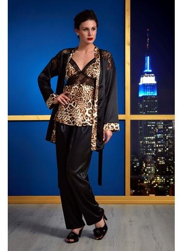 Leopar Saten Sabahlık- Alt Üst Pijama Takım Versace